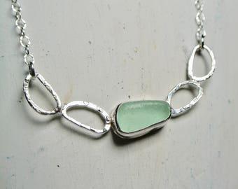 sea glass jewelry, sea glass necklace, OOAK jewelry, beach glass jewelry, crystal moon, Chris Keener, gift for her, beach jewelry, Ocean