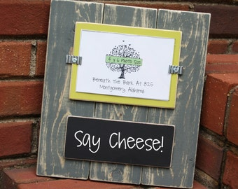 Picture Frame with Chalkboard - Holds a 4x6 Photo - Distressed Wood - Gray & Lime Green - Black Chalkboard