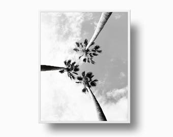 Palm Tree Print, Tropical Palm Print, Coastal Palm Trees Print, California Black and White Printable Download Palm Tree