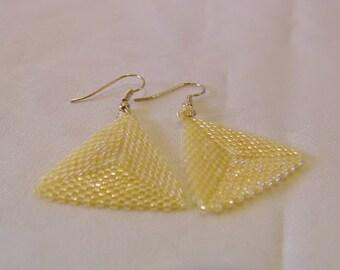 Triangle Earrings handwoven Crystal Yellow Luster Herringbone Peyote Stitch