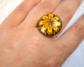 unusual jewelry flower ring sunflower floral ring nature ring organic jewelry wood ring womens gift fantasy jewelry woodland gift for women
