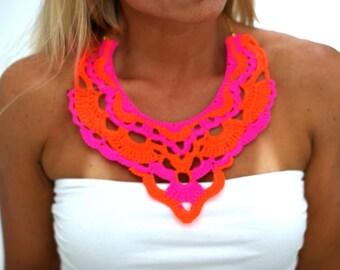 Maxi Crochet Necklace. Neon Tangerine.