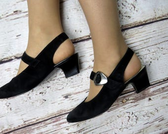 Comfy Rachel Green Style Mary Jane Heels Shoes / Rachel Green Style 90s Grunge Low Suede Leather Heels Shoes /