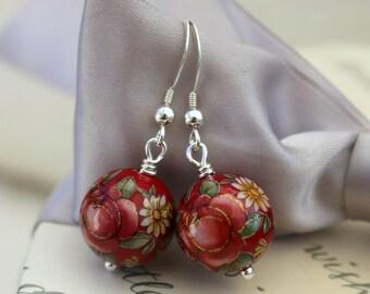 Japanese Tensha bead earrings 14mm Dark Red with Pink Roses