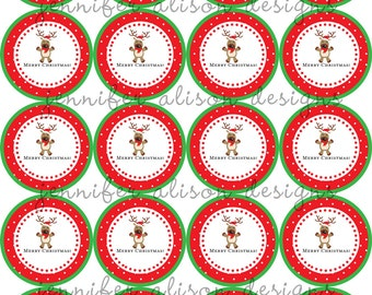 """INSTANT DOWNLOAD / Reindeer Merry Christmas 2"""" printable Party Circles / Cupcake Topper / Stickers / Thank You Tags"""