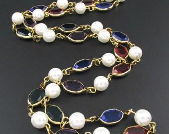 Multi Color Necklace, Faux Pearl Necklace, Long Necklace, Plastic Crystal Necklace, Colorful Necklace