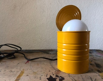 Vintage industrial bright yellow food can lamp, retro lighting, office table lamp, Made in Holland