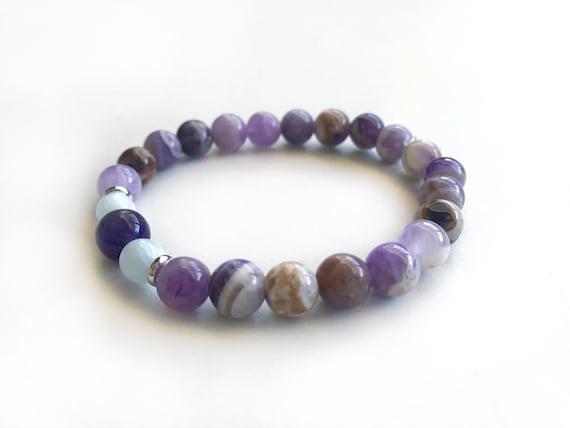 Flower Amethyst & Aquamarine Stretch Bracelet, Match Your Mala Beads, Natural Healing Jewelry, Purple Bracelet
