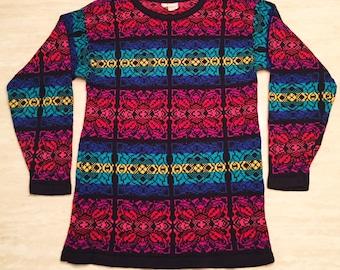 80s Rainbow Sweater. Rainbow Crewneck. Vintage pullover. 80s sweater. 80s sweater. rainbow. ugly sweater. bright. rainbow bright. colorful