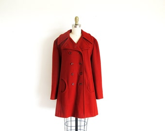 Vintage 1960  Wool Coat, Dress Length Rust Coat, 1960 Bittersweet Coat, Mod Coat, Free shipping