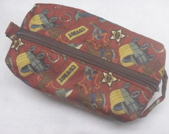 Cowboy Bag, Travel Bag, Ditty Bag, Western Bag, Pencil Case, Zip Pouch, Shave Kit, Gifts Under 20, Gifts for Cowboys, Gifts for Boys