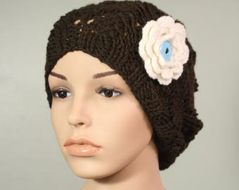 Semi Slouchy Hat with or without Flower - Coffee - Handknit Cap - Women's - Ivory Flower - Crochet - Interchangeable