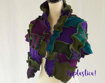 Colourful Upcycled Patchwork Shawl, Jewel-Toned Wrap, Large Scarf, Triptastica Eco Couture