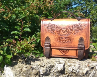 Tooled Leather  Belt Bag for Man