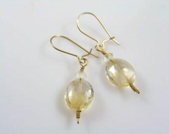 Citrine Earrings, Gold Filled Earrings, Gold Earrings with Citrine, November Birthstone Earrings, Gemstone Earrings, Gem Jewelry, E710