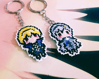 COMMISSIONS: Various characters cross-stitch keychain