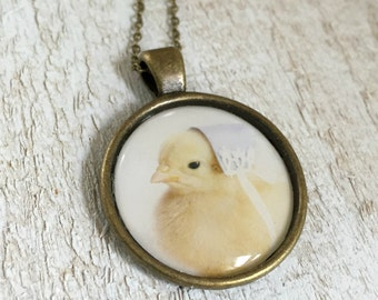 Baby Animal Pendant Necklace of A Chick Chicken In A Blue Bonnet Hat Farm Animals Jewelry