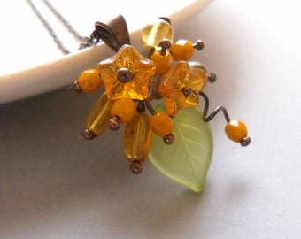 Wire jewelry, gift for women, flower glass beaded artistic pendant, contemporary jewelry, eccentric necklace, Bouquet