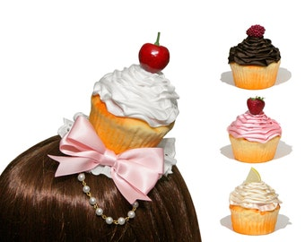 Sweet Swirled Cupcake Hair Clips and Headbands - Variety of Frosting and Toppings Available!