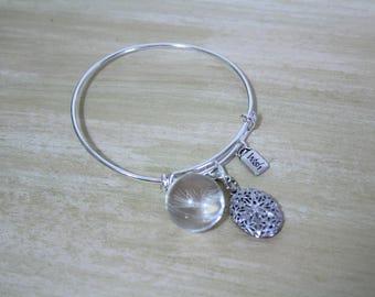 Inspirational Diffuser Jewelry - Make a Wish Dandelion Charm Bracelet - Dandelion Wishes Gift Idea