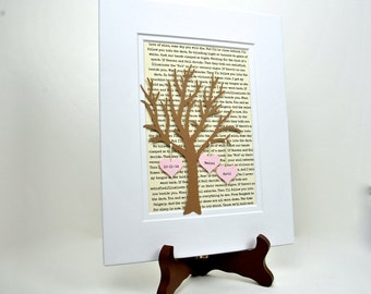 Personalized Song Lyric Art, 3D Paper Tree Wedding or Engagement Gift, First Year Anniversary Gifts, Wedding Song Lyrics, Wedding Vows Gift
