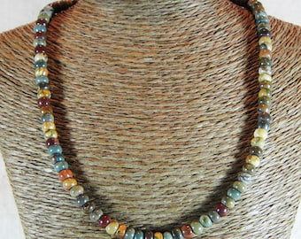 "Multicolored Picasso jasper necklace 17"" multicolor rondelle beads semiprecious stone jewelry packaged in a colorful gift bag 10508"