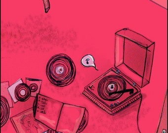 Girl Put Your Records On • art print • giclee • inspiration • record fan • music • collection • song • drawing • pink • dance • illustration