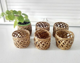 Vintage Wicker Coasters Set for Tumblers Plants Organizing Woven Bottoms Rattan Boho Style Bohemian Home Decor Gifts for Plant Lovers Cozies