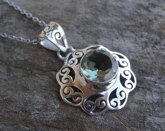 """Sterling Silver Natural Prasiolite Green Amethyst Pendant Necklace - STERLING Silver 18"""" chain - Handmade Necklace - Natural Stone Pendant"""