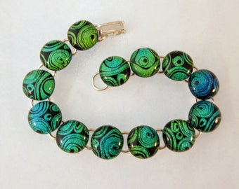 8 Inch Green Blue and Black Fused Glass Bracelet, Dichroic, Fused Glass, Fused Glass Bracelet, Glass Bracelet, Dichroic, Green