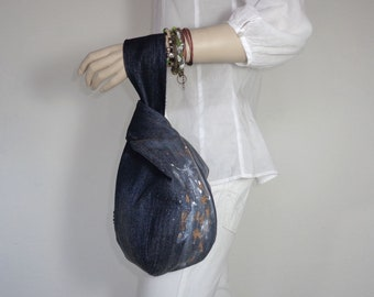 Japanese knot bag wristlet clutch pouch case purse recycled denim