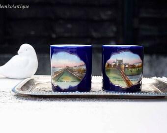 Set of 2 Antique Cobalt Blue Made in Germany Small Porcelain Souvenir 'Blackpool' Mugs Retro Collectible Souvenirs Traveling Memorabilia