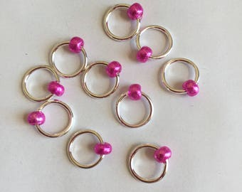 Pink Beaded Circular Stitch Marker Set