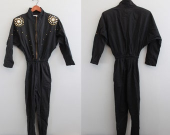 Vintage Black Studded One-piece onesie Jumpsuit Romper by Rio Inc