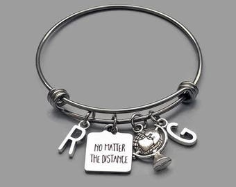 No Matter The Distance Bracelet, Best Friends Charm Bracelet, Best Friends Bracelet, Friendship Charm Bracelet, Stainless Steel Bangle