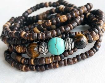 Tribal Wrap Bracelet, Elastic Band Bracelet with Cocont Beads, Turquoise & Tiger Eye Stones, Boho Bracelet, Necklace, Headband