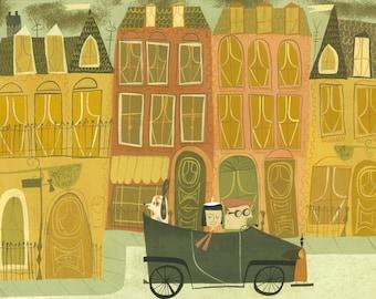 Newbury Street Boston, 1938.  Limited edition print by Matte Stephens.