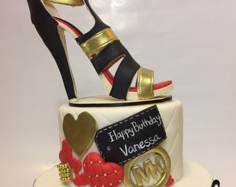 Chanel high heel heels shoes 3D Cake Topper fondant