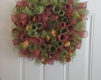 Curly Cue Mesh Fall Wreath