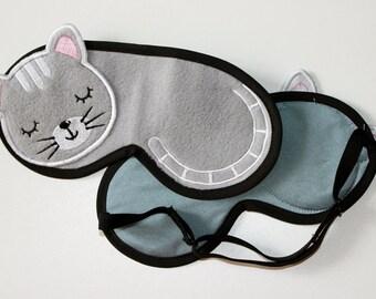 Grey Cat Sleep Mask, Travel Mask, Comfortable Sleeping Eye Mask, Beauty eye mask, Travel sleeping mask, Gift For Her, Gift sleep mask
