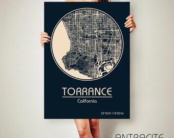 TORRANCE California CANVAS Map Torrance California Poster City Map Torrance California Art Print Torrance California l