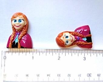 3 pc Frozen Princess Anna Resin Flat back Cabochon Hair Bow Center Craft Supply