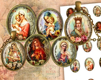 VIRGIN MARY, religious jewelry, Oval 30x40mm, 25x18mm digital images + Gigt Tags, Digital Collage Sheet,Instant Download, pendants,cabochons
