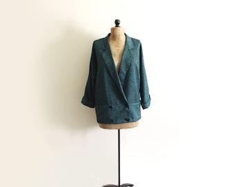 vintage blazer 90s emerald green herringbone 1990s oversized jacket size m medium