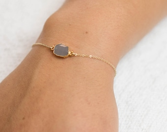 Gem Slice Bracelet / Gold Edged Stone on Gold fill Chain / Gold Bracelet / Simple Gemstone Necklace / Layered and Long LB703