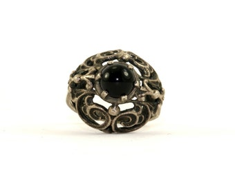 Vintage Round Onyx Scroll Design Ring 925 Sterling Silver RG 2384