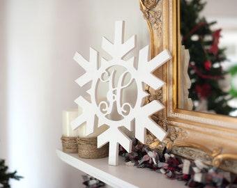 Snowflake Wood Monogram, Unfinished, Ready To Paint