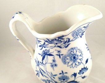 1930s American Pottery Cream Pitcher, Blue Floral Motif Transfer. Housewarming Gift, Saucer Pitcher,  Father's Day Gift, Mother's Day Gift