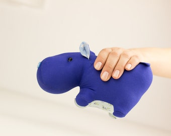 Blue cotton soft toy hippo. Great man and boy gift. Stuffed toy hippopotamus. Symbol of power, invincibility and phlegmatic