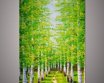 Large Hand-painted home decor wall art vertical Green birch forest autumn landscape tree thick palette knife oil painting on canvas By Lisa